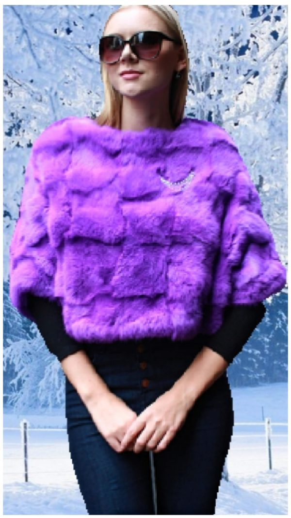 purple rabbit fur caplet
