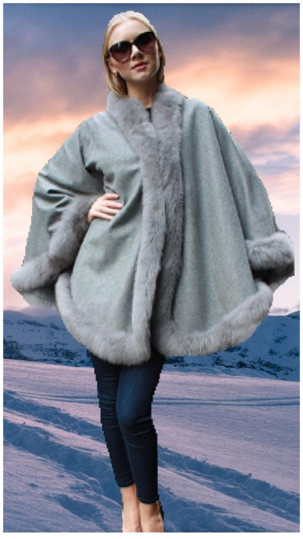 light grey cashmere cape fox fur trim