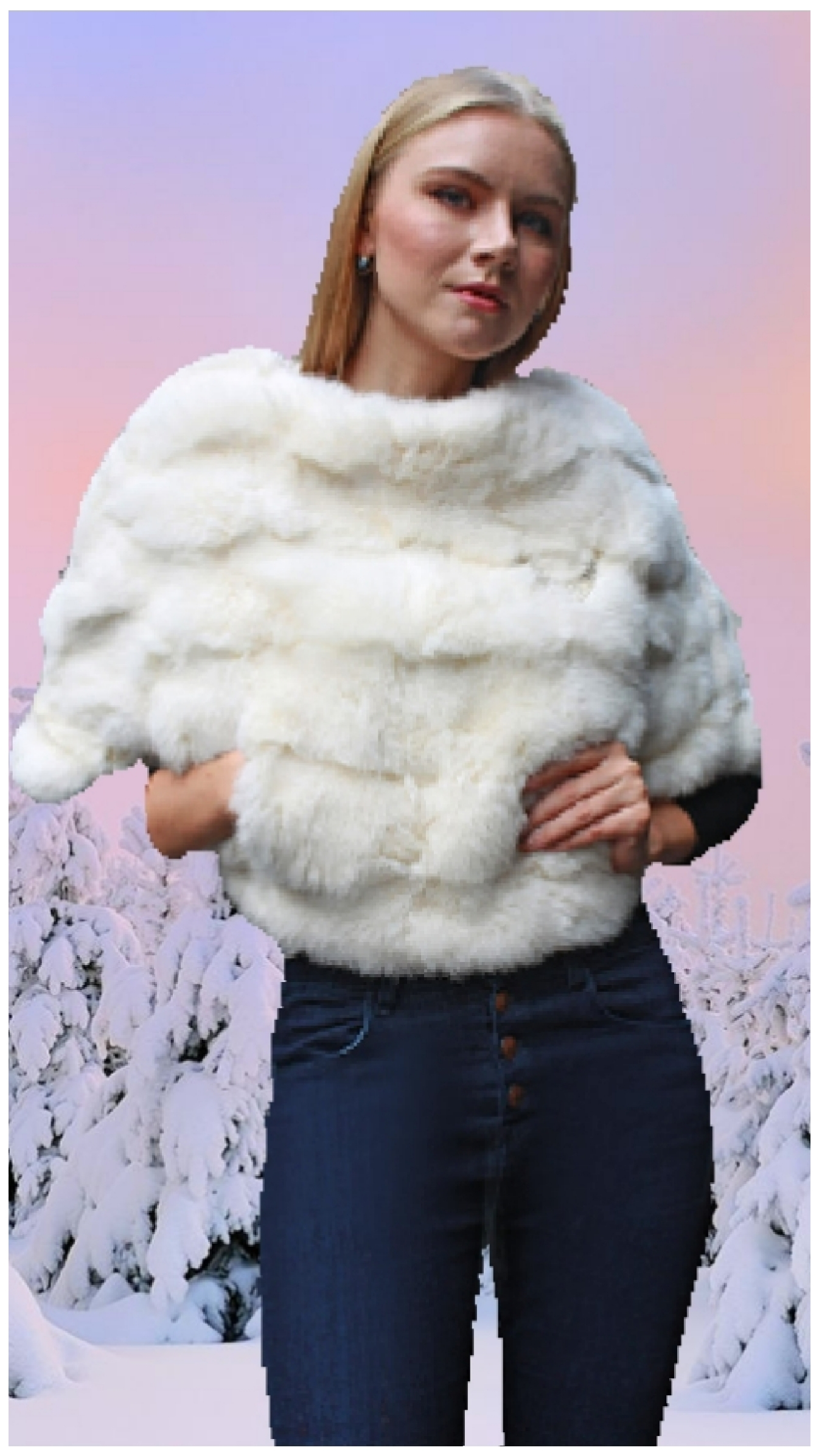 white rabbit fur caplet
