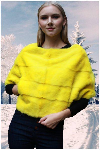 yellow mink fur caplet