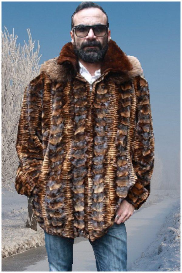 whiskey sheared mink fur jacket hood fox fur trim