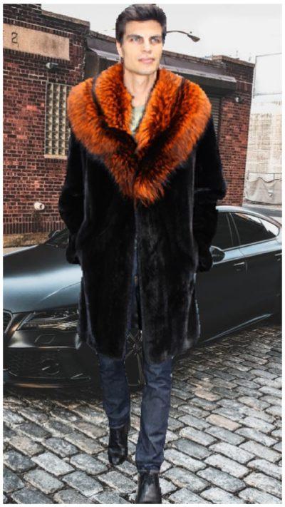 mens orange mink fur jackets