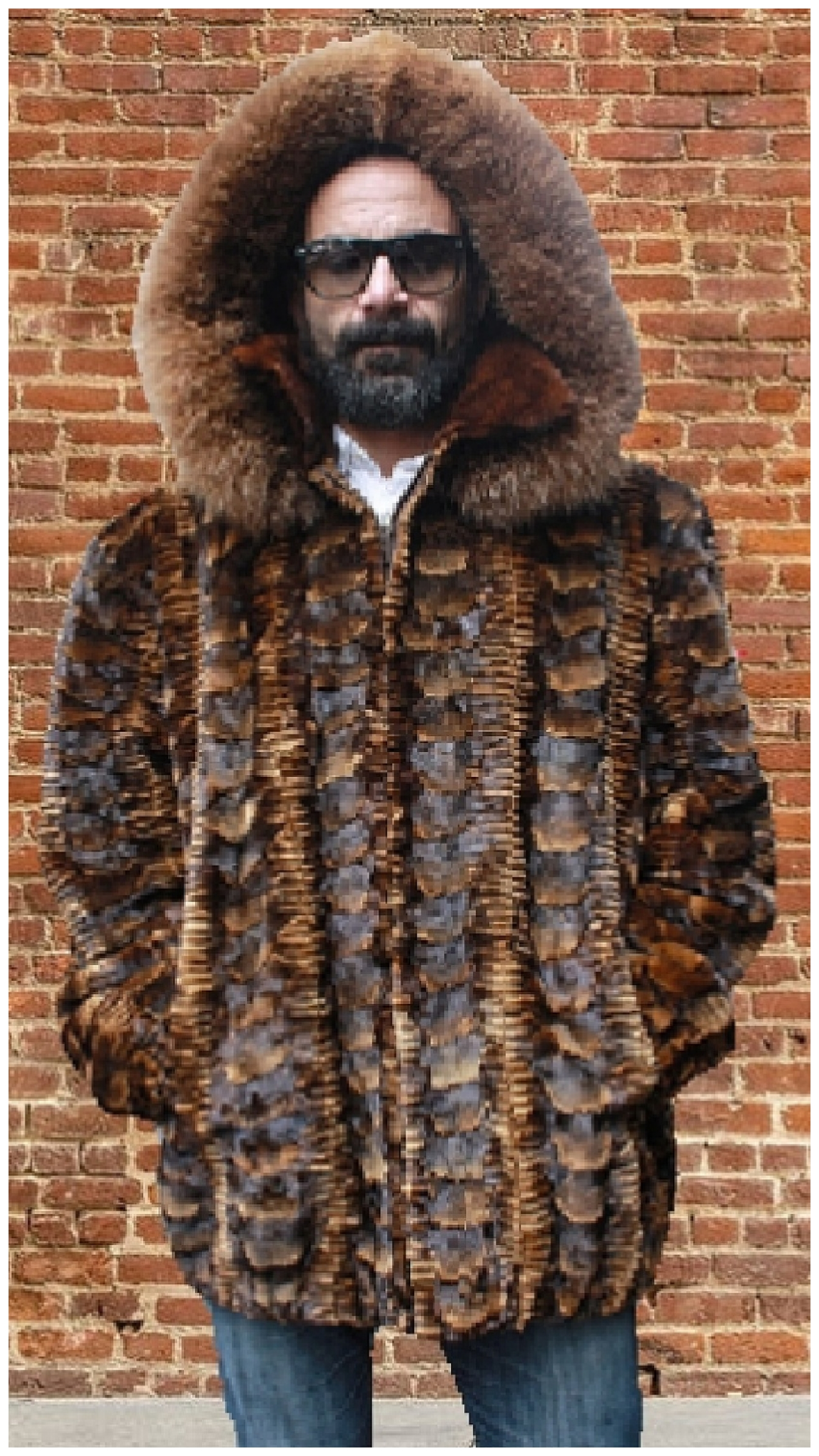 0eeb170015 Whiskey Sheared Mink Fur Jacket with Hood and Fox Fur Trim