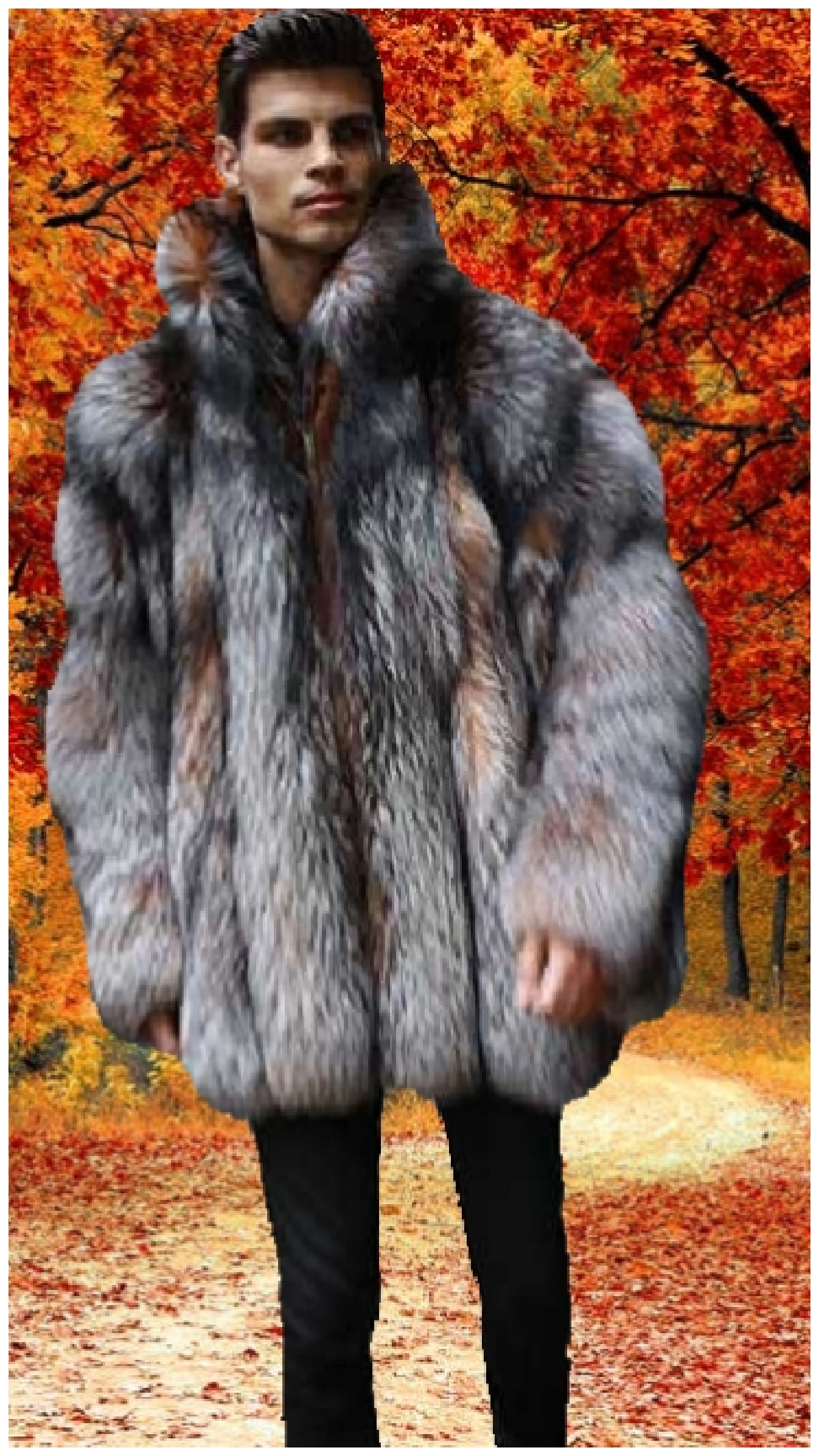 4d91eb8fc Men's Crystal Fox Fur Bomber Jacket with Dyed Silver Fox Fur 7733