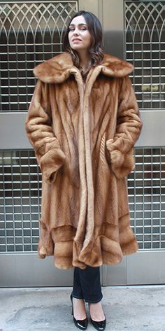 Plus Size Whiskey Mink 7/8 Fur Coat