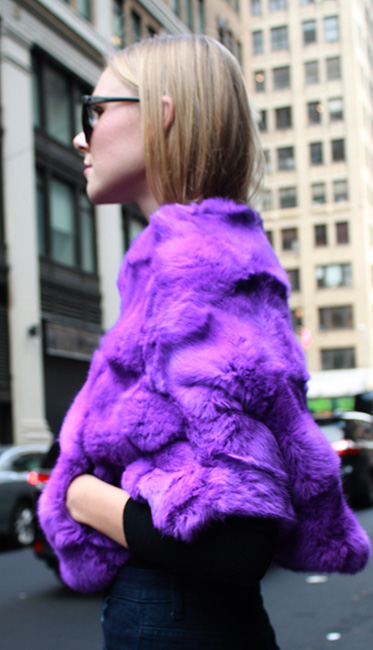 Purple Rabbit Fur Capelet