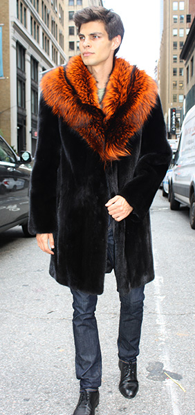 Ranch Mink Fur Coat with Burnt Orange Fox Fur Collar