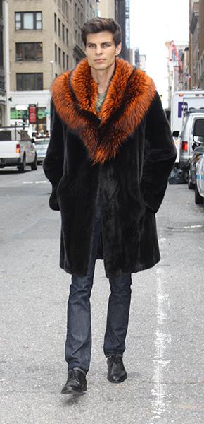 Ranch Mink Fur Coat with Burnt Orange Fox Fur Collar