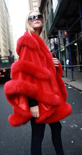 Red Cashmere Fox Fur Cape