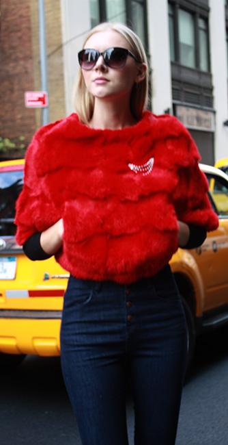 Red Rabbit Fur Capelet