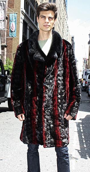 Sculptured Burgundy Ranch Mink Fur Coat