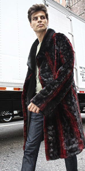 Sculptured Burgundy Ranch Mink Fur Coat