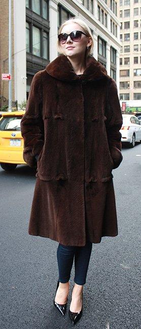 Sheared Brown Mink Fur Stroller