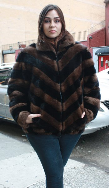 Plus Size Ranch Mahogany Mink Bomber Jacket