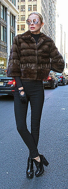 woman mink fur vest