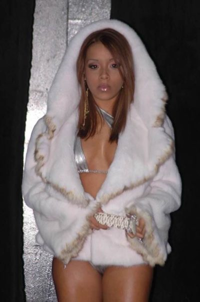 Sexy in White Mink Jacket Sable Trim