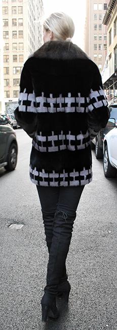Black Gray Mink Fur Stroller With Sable Fur Collar