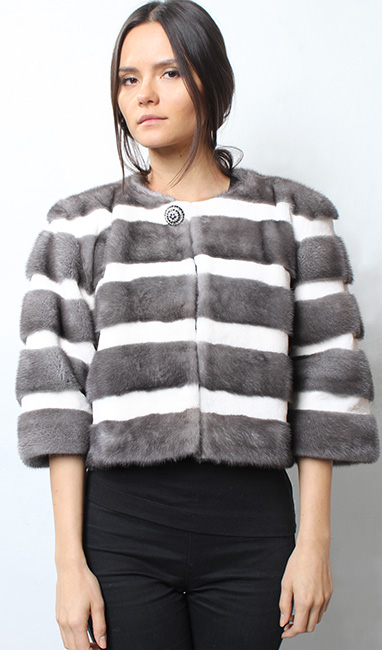 Blue Iris Mink Fur and White Mink Fur Cape