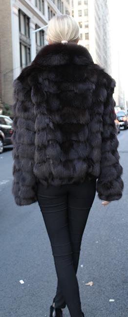 Brown Fox Fur Bomber Jacket