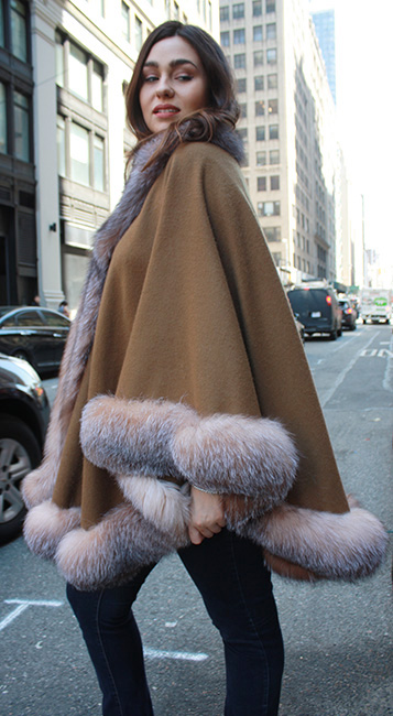 Brown Cashmere Cape With Crystal Fox Fur Trim