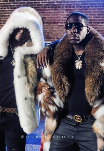 T.I. Young Dro Coyote Fur Jacket Fox Fur Trim Hood Patchwork Mink Fur Coat Fox Fur Collar