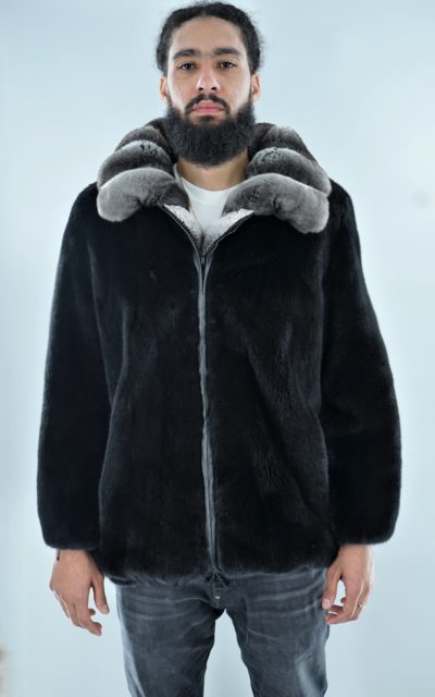 Mens Blackglama Mink Bomber Jacket Chinchilla Collar