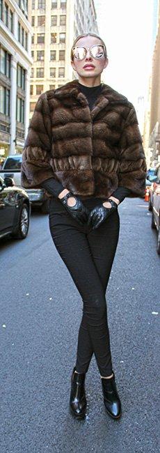 Brown Mink Fur Jacket with Sheared Mink Fur Trim