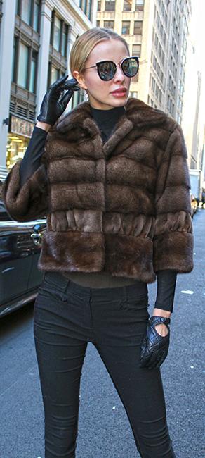 Demi Mink Fur Jacket with Sheared Mink Fur Trim