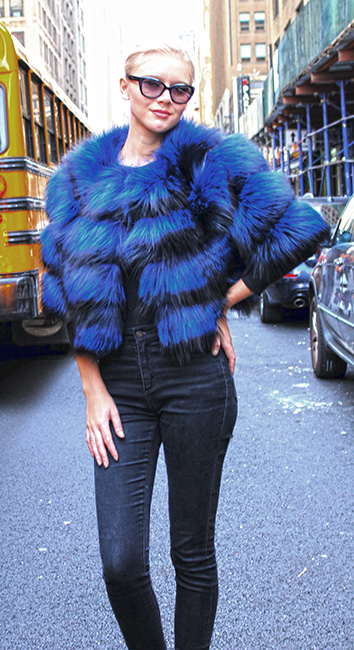 Dyed Blue Fox Fur Jacket