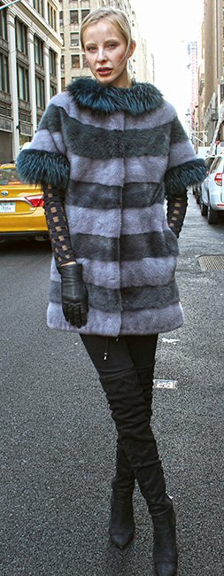 Gray Sapphire Mink Fur Sort Sleeved Jacket