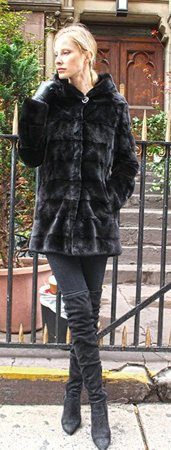 Horizontal Ranch Mink Fur Jacket with Hood
