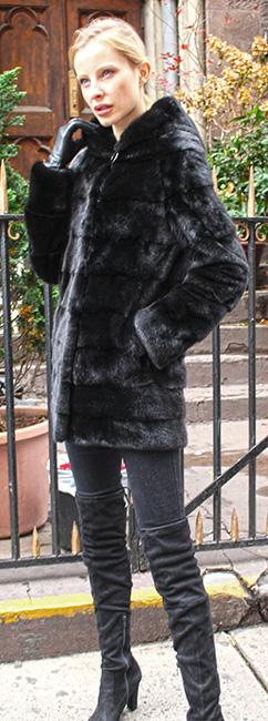 Horizontal Ranch Mink Fur Jacket with Hood