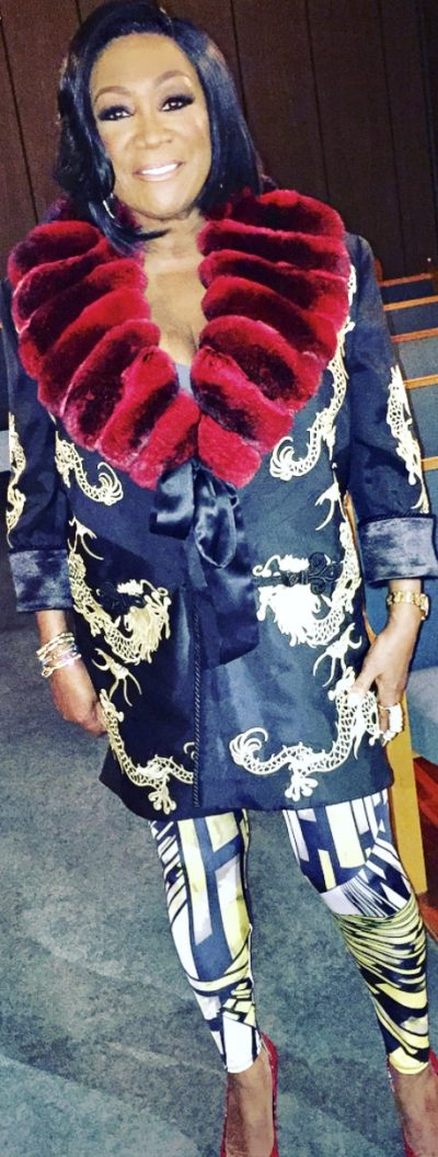 Patti Labelle is sporting a fabulous Red Chinchilla Collar by Marc Kaufman Furs of NY