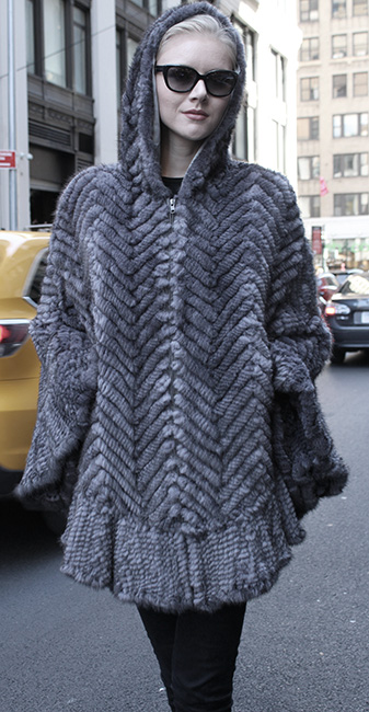 Gray Knit Mink Fur Poncho with Hood