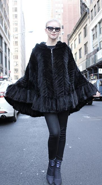 Black Knit Mink Fur Poncho with Hood