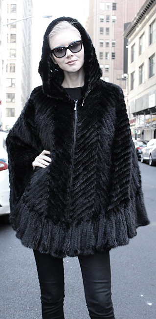 Black Knit Mink Fur Poncho with Hood