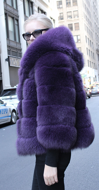 Purple Fox Fur Jacket with Hood
