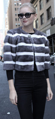 Gray Mink Fur Capelet with White Sheared Mink Fur Stripes