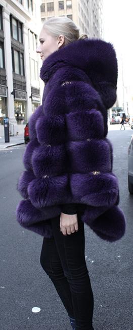 Purple Fox Fur Cape