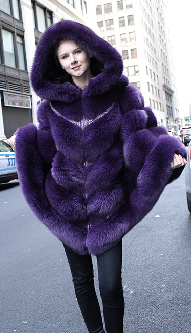 Purple Fox Fur Cape