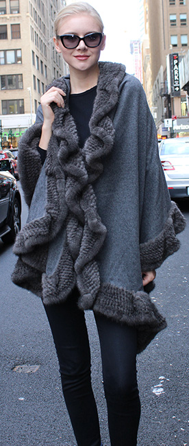 Gray Cape with Knit Mink Fur Trim