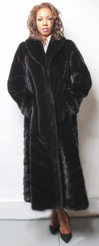 BLACKGLAMA MINK FUR COAT DIRECTIONAL
