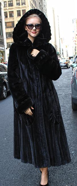 Black Glama Directional Mink Fur Coat with Hood