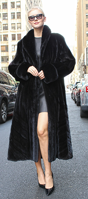 Black Glama Mink Fur Coat