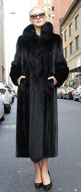 Ranch Mink Fur Coat with Black Fox Fur Trim