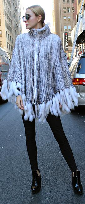 Ivory Knit Mink Fur Poncho
