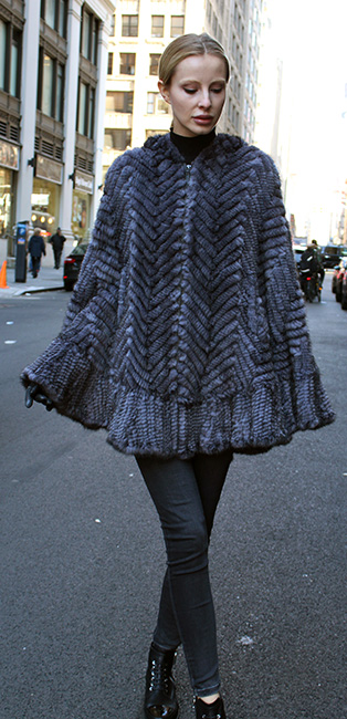 Light Gray Knit Mink Poncho with Hood