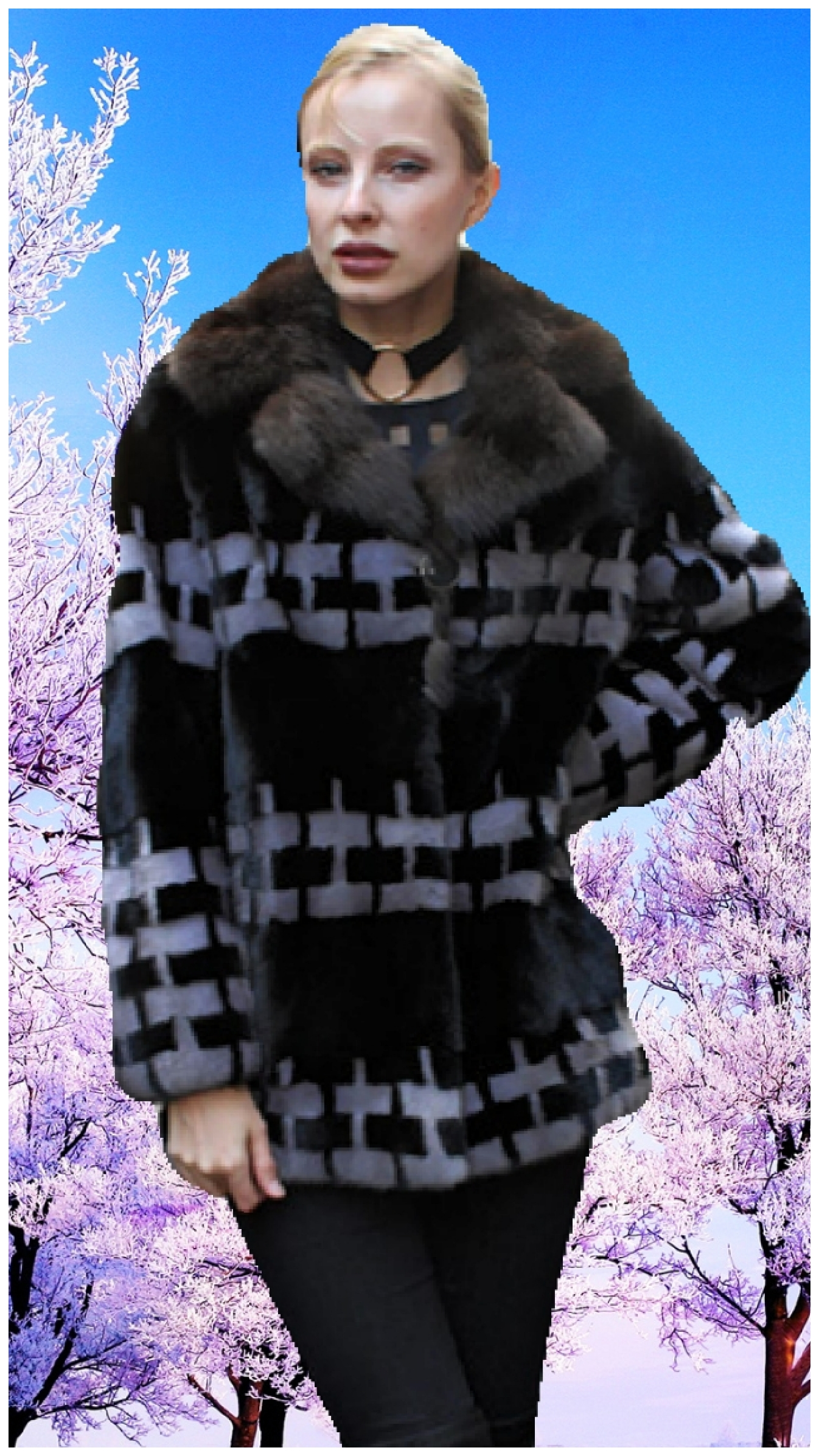 sable fur collar