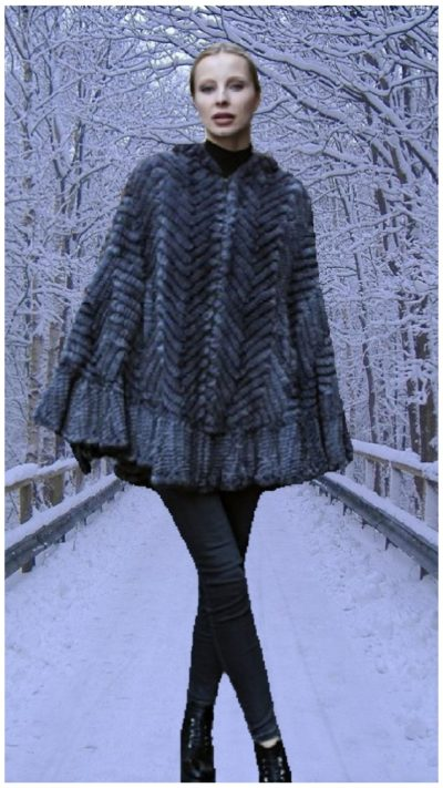 light gray knit mink poncho