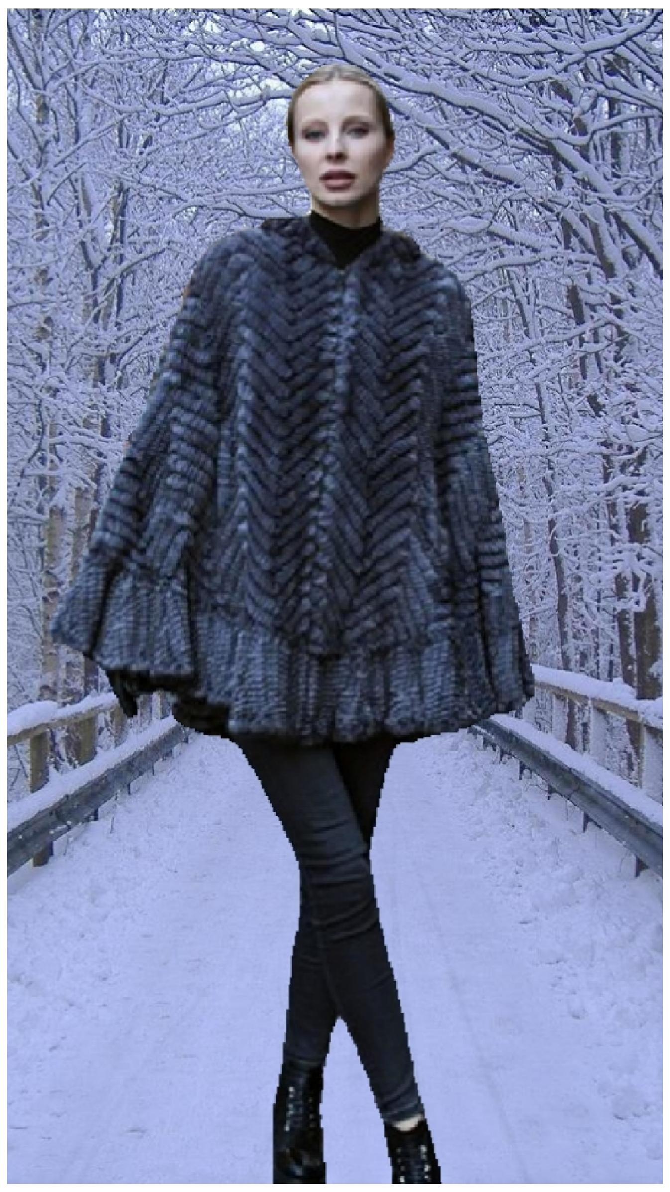 light gray knit mink poncho